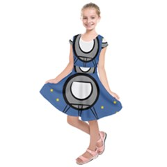 A Rocket Ship Sits On A Red Planet With Gold Stars In The Background Kids  Short Sleeve Dress by Simbadda
