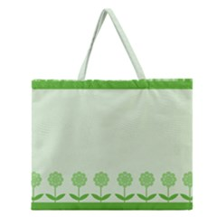Floral Stripes Card In Green Zipper Large Tote Bag by Simbadda