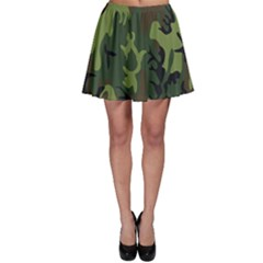 Military Camouflage Pattern Skater Skirt by Simbadda