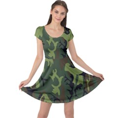 Military Camouflage Pattern Cap Sleeve Dresses