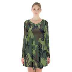 Military Camouflage Pattern Long Sleeve Velvet V Neck Dress by Simbadda