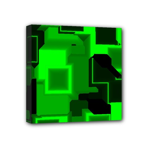Green Cyber Glow Pattern Mini Canvas 4  X 4