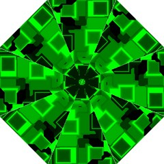 Green Cyber Glow Pattern Folding Umbrellas by Simbadda