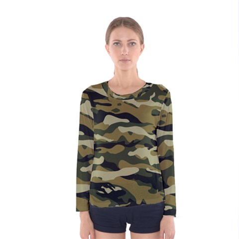 Military Vector Pattern Texture Women s Long Sleeve Tee by Simbadda