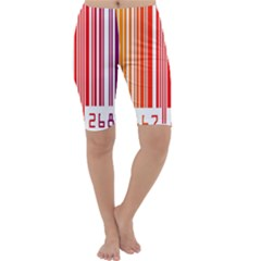 Colorful Gradient Barcode Cropped Leggings  by Simbadda