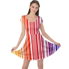 Colorful Gradient Barcode Cap Sleeve Dresses