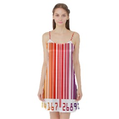 Colorful Gradient Barcode Satin Night Slip by Simbadda