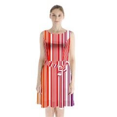 Colorful Gradient Barcode Sleeveless Chiffon Waist Tie Dress
