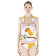 Yellow Bird Tweet Halter Swimsuit by Alisyart