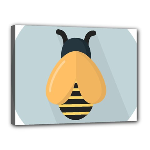 Animals Bee Wasp Black Yellow Fly Canvas 16  X 12  by Alisyart