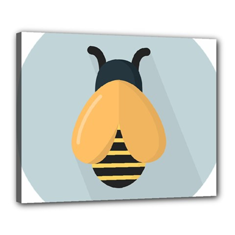 Animals Bee Wasp Black Yellow Fly Canvas 20  X 16