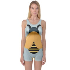 Animals Bee Wasp Black Yellow Fly One Piece Boyleg Swimsuit