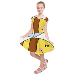 Animals Bee Wasp Smile Face Kids  Short Sleeve Dress
