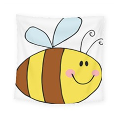Animals Bee Wasp Smile Face Square Tapestry (small) by Alisyart
