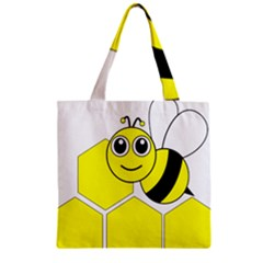 Bee Wasp Yellow Zipper Grocery Tote Bag by Alisyart