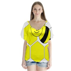 Bee Wasp Yellow Flutter Sleeve Top