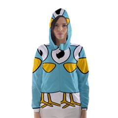 Bird Big Eyes Blue Hooded Wind Breaker (women) by Alisyart
