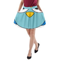 Bird Big Eyes Blue A Line Pocket Skirt