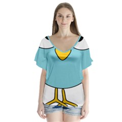Bird Big Eyes Blue Flutter Sleeve Top