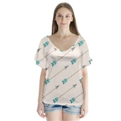 Arrow Quilt Flutter Sleeve Top