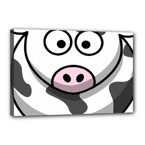 Animals Cow  Face Cute Canvas 18  X 12  by Alisyart