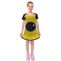 Big Eye Red Black Kids  Short Sleeve Velvet Dress