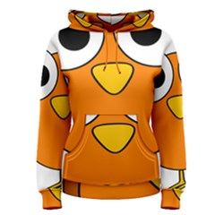Bird Big Eyes Orange Women s Pullover Hoodie