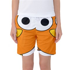 Bird Big Eyes Orange Women s Basketball Shorts by Alisyart