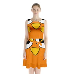 Bird Big Eyes Orange Sleeveless Chiffon Waist Tie Dress