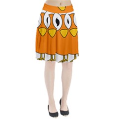 Bird Big Eyes Orange Pleated Skirt