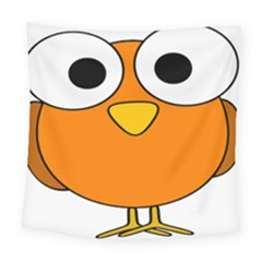 Bird Big Eyes Orange Square Tapestry (large)
