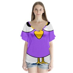 Bird Big Eyes Purple Flutter Sleeve Top
