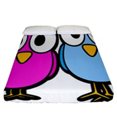 Bird Big Eyes Pink Blue Fitted Sheet (california King Size)