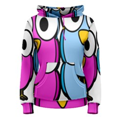 Bird Big Eyes Pink Blue Women s Pullover Hoodie