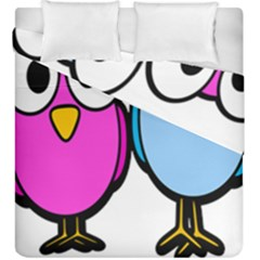 Bird Big Eyes Pink Blue Duvet Cover Double Side (king Size)