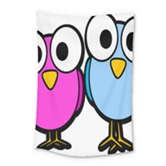 Bird Big Eyes Pink Blue Small Tapestry