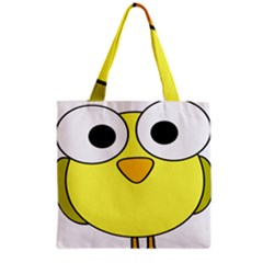 Bird Big Eyes Yellow Green Grocery Tote Bag