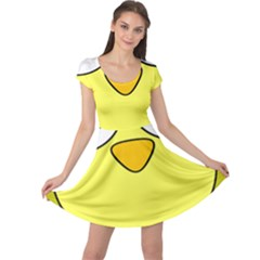 Bird Big Eyes Yellow Green Cap Sleeve Dresses