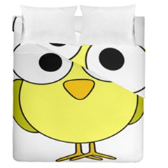 Bird Big Eyes Yellow Green Duvet Cover Double Side (queen Size) by Alisyart