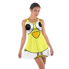 Bird Big Eyes Yellow Green Cotton Racerback Dress by Alisyart
