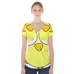 Bird Big Eyes Yellow Green Short Sleeve Front Detail Top by Alisyart