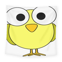 Bird Big Eyes Yellow Green Square Tapestry (large)