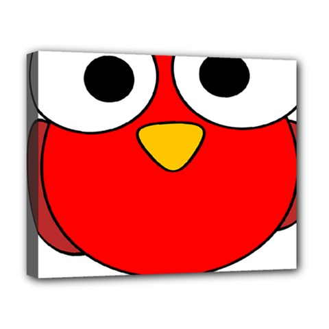 Bird Big Eyes Red Deluxe Canvas 20  X 16   by Alisyart