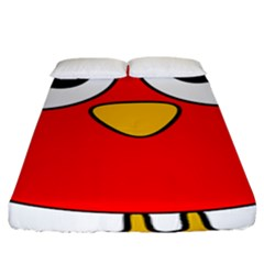 Bird Big Eyes Red Fitted Sheet (king Size) by Alisyart