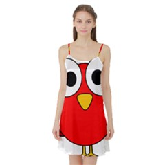 Bird Big Eyes Red Satin Night Slip