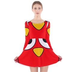 Bird Big Eyes Red Long Sleeve Velvet Skater Dress