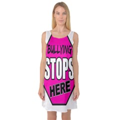 Bullying Stops Here Pink Sign Sleeveless Satin Nightdress