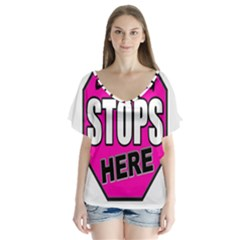 Bullying Stops Here Pink Sign Flutter Sleeve Top