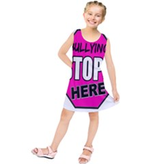 Bullying Stops Here Pink Sign Kids  Tunic Dress