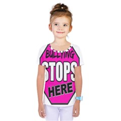 Bullying Stops Here Pink Sign Kids  One Piece Tee by Alisyart